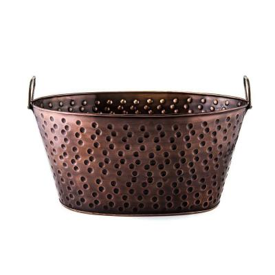 17 in. x 11 in. x 8.25 in., 4 Gal. Oval Party Tub in Antique Hammered Copper