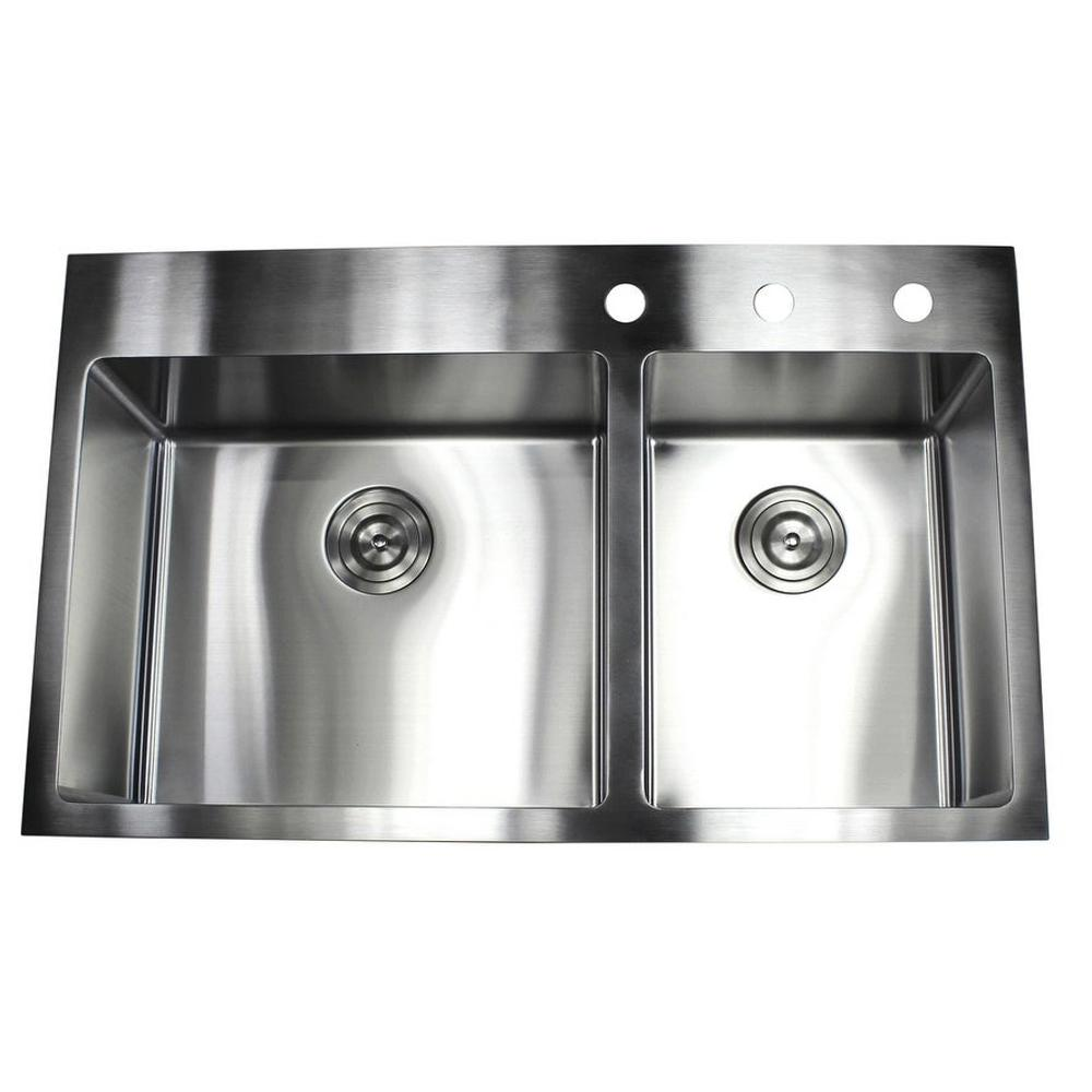 Drop-in Top Mount 16-Gauge Stainless Steel 33 in. x 22 in. x 10 in. 60/40  Offset Double Bowl Kitchen Sink