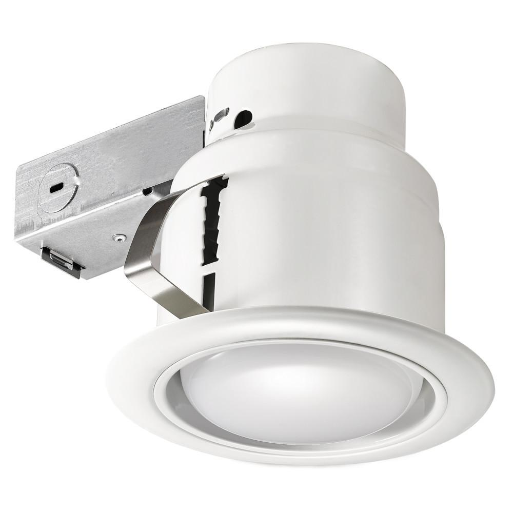 Commercial Electric 5 In White Led Swivel Baffle Round Trim New Construction And Remodel Recessed Lighting Kit With Bulb