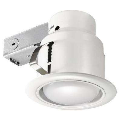 5 in. White LED Swivel Baffle Round Trim New Construction and Remodel Recessed Lighting Kit with LED Bulb