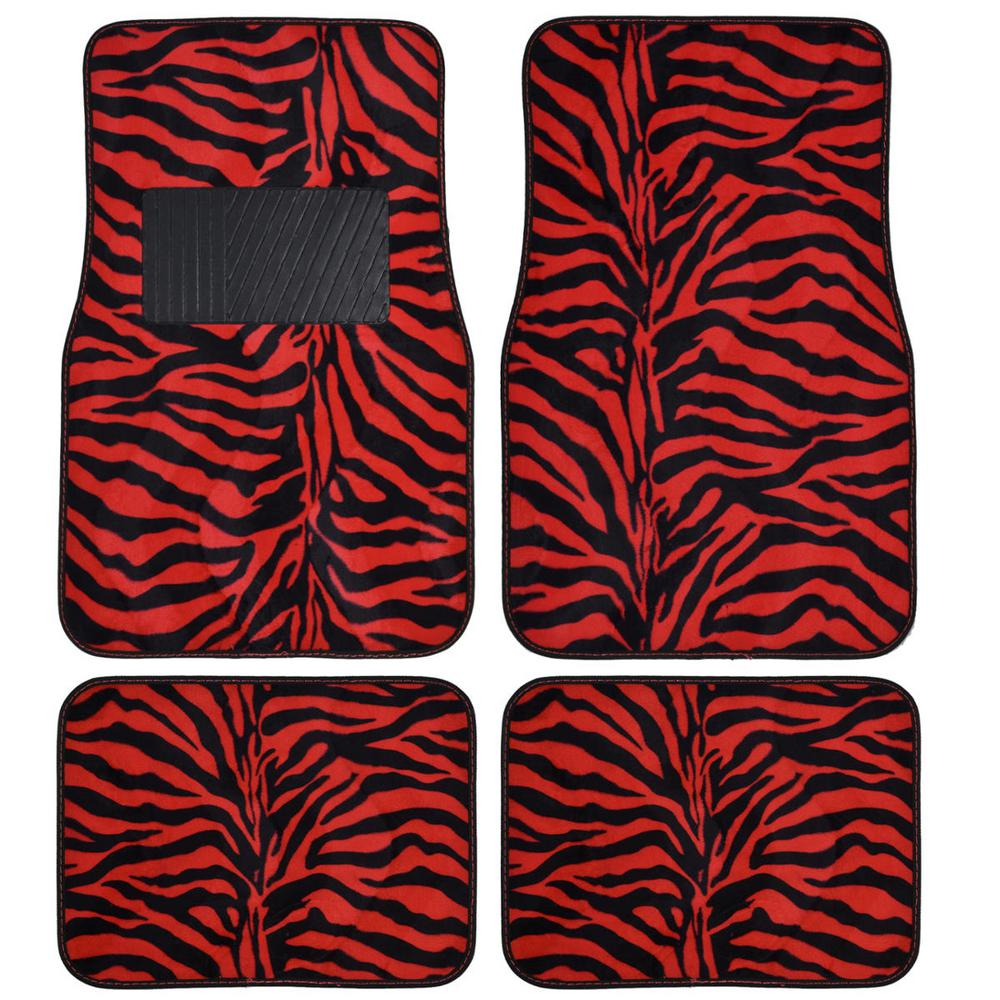 Bdk zebra print mt 902 red animal print 4 piece carpet car for Floor print