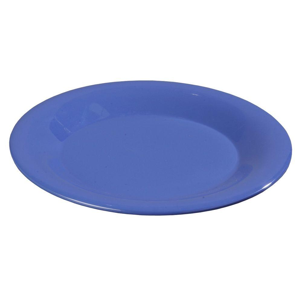 9 in. Diameter Wide Rim Melamine Dinner Plate in Ocean Blue
