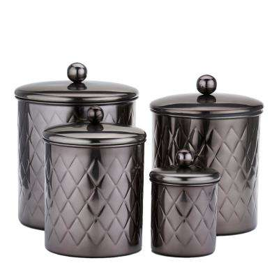 4-Piece Black Mirror Embossed Diamond Canister Set in 4 Qt., 3 Qt., 2 Qt., 1 Qt.