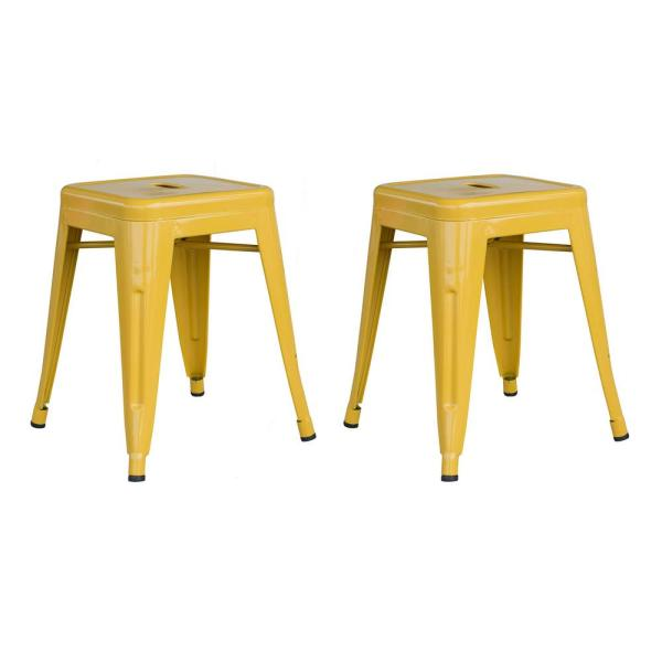 Loft Style 18 in. Gold Stackable Metal Bar Stool (Set of 2)