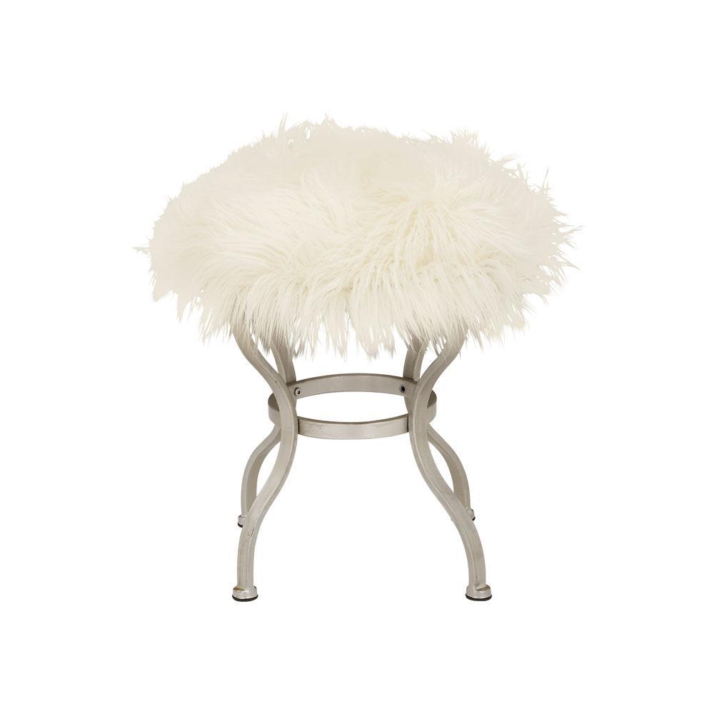 Modern White and Silver Round Fur Ottoman