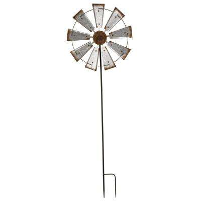 69.41 in. H Farmhouse Metal Galvanized Wind Spinner Yard Stake or Wall Decor