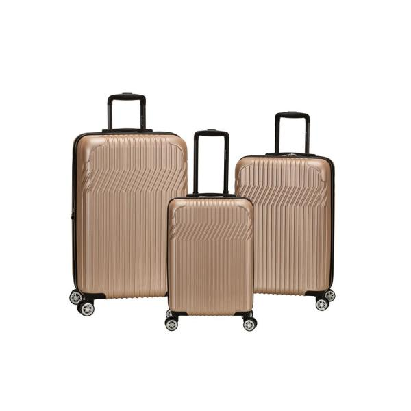 Rockland Pista Collection 3-Piece Hardside Dual Spinner Luggage Set, Champagne