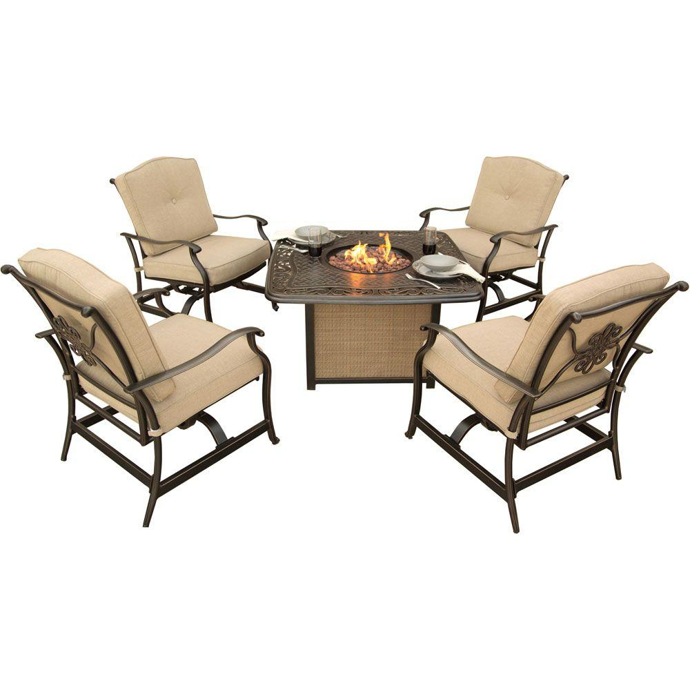 Hanover traditions 5 piece patio fire pit seating set with cast top fire pit