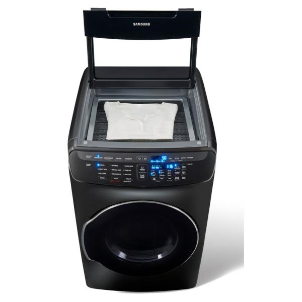Samsung 7.5 Total cu. ft. Gas FlexDry Dryer with Steam in Black Stainless