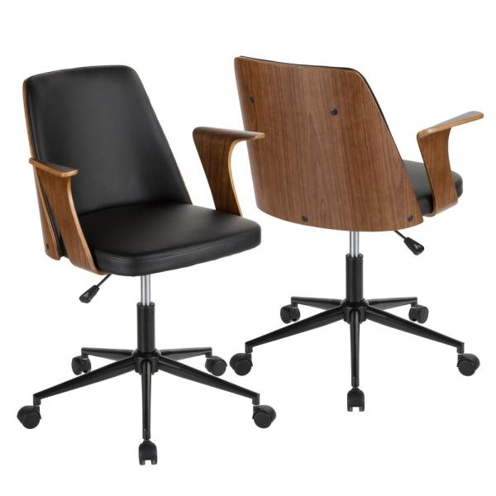 Lumisource Verdana Walnut and Black Faux Leather Office Chair OC-VRDNA WL+BK