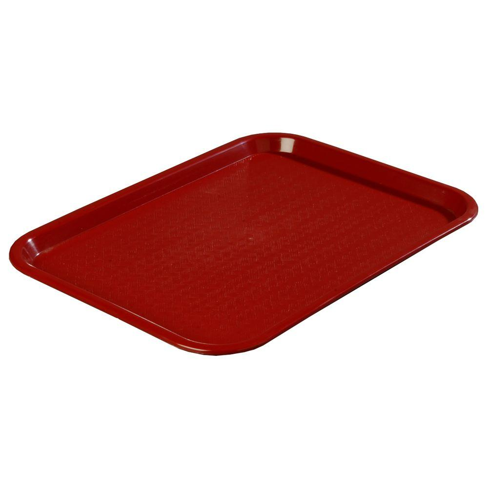 12 in. x 16 in. Polypropylene Serving/Food Court Tray in Burgundy