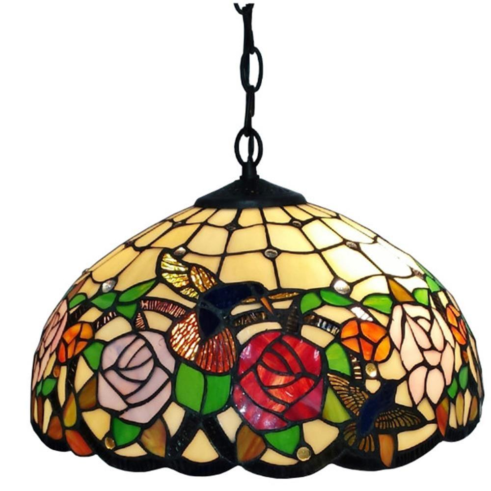 Amora lighting tiffany style 16 in wide 2 light hummingbirds floral hanging pendant lamp