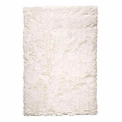 Faux Sheepskin White 10 ft. x 13 ft. Area Rug
