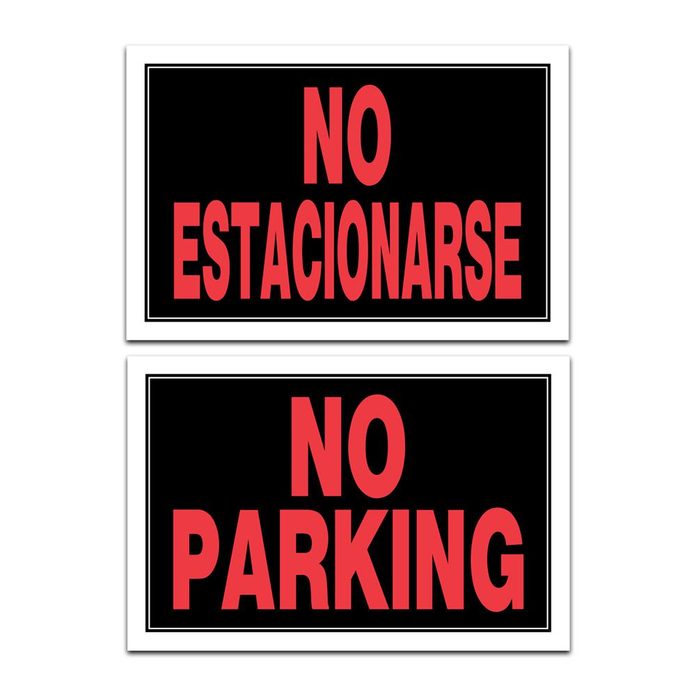 Everbilt 8 in. x 12 in. Vinyl No Parking No Esta Sign, Red/Black The 8 in. x 12 in. Plastic No Parking No ESTA Sign can help clearly indicate an area where parking is not allowed. No Parking is written in both Spanish and English for extra clarity. This sign is ideal where bilingual signs are needed or required. Color: Red/Black.