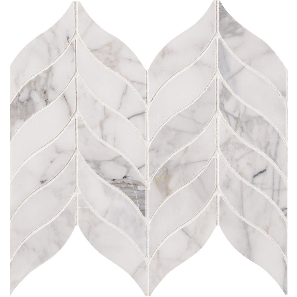 MSI Calacatta Cressa Leaf 12 in. x 12 in. x 10 mm Honed Marble Mesh-Mounted Mosaic Tile (10 sq. ft. / case)