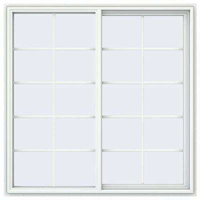 59.5 in. x 59.5 in. V-4500 Series White Vinyl Right-Handed Sliding Window with Colonial Grids/Grilles