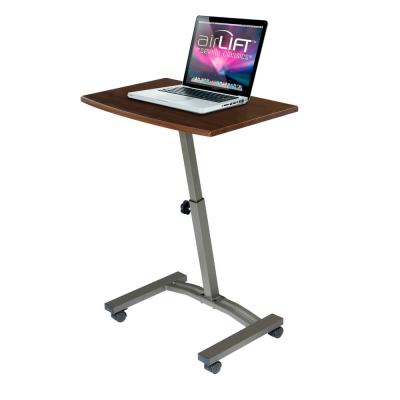 AIRLIFT Walnut/ Satin Bronze Mobile Laptop Computer Desk Cart With Adjustable Height Range 20.5 in to 33 in.