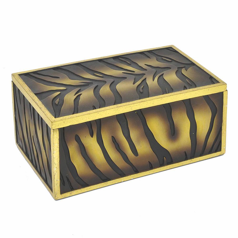Brown Resin Box Tiger Print