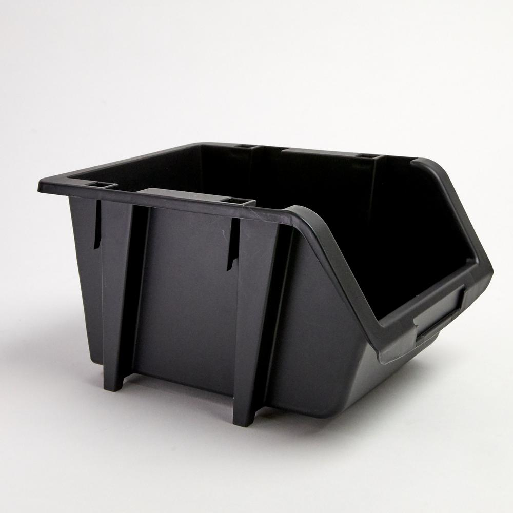 TAFCO Product 6-7/8 in. Stacking and Nesting Storage Bin, Black (4-Pack)