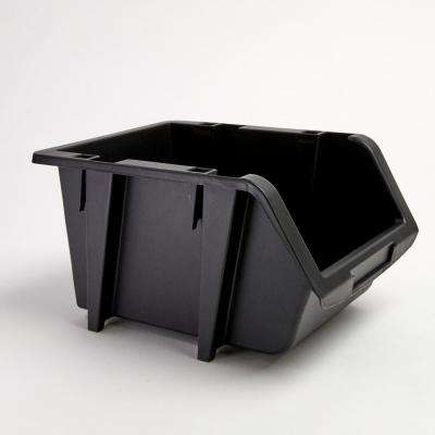 6-7/8 in. Stacking and Nesting Storage Bin, Black (4-Pack)