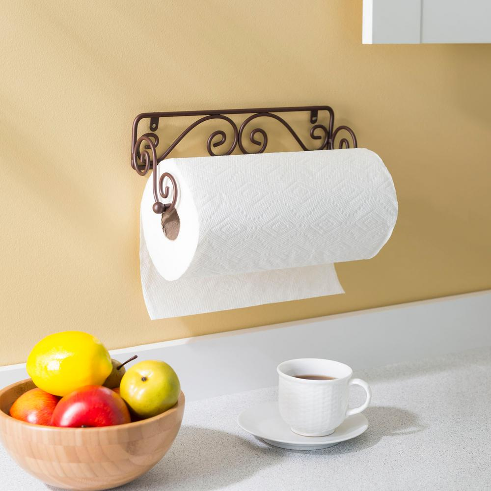 Paper towel holder wall mount bronze scroll kitchen counter home basics holders 692621514259 ebay for Bathroom counter towel holder
