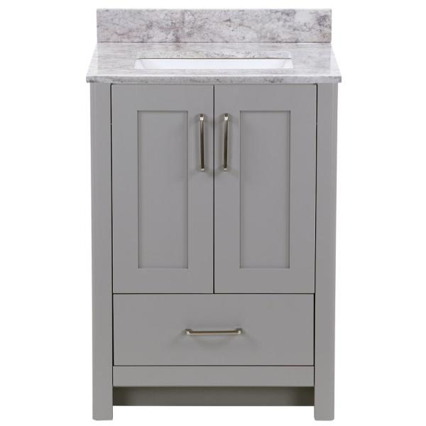 Westcourt 25 in. W x 22 in. D Bath Vanity in Sterling Gray with Stone Effect Vanity Top in Winter Mist with White Sink