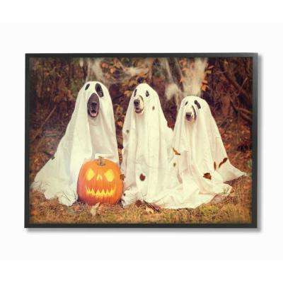 "16 in. x 20 in.  ""Vintage Photography Halloween Pumpkin And Ghost Dogs"" by Daphne Polselli Framed Wall Art"