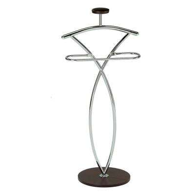 21 in. x 42 in. Chrome / Walnut Metal / Wood Valet Stand