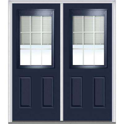 64 in. x 80 in. Internal Blinds and Grilles Right-Hand 1/2 Lite 2-Panel Classic Painted Steel Prehung Front Door