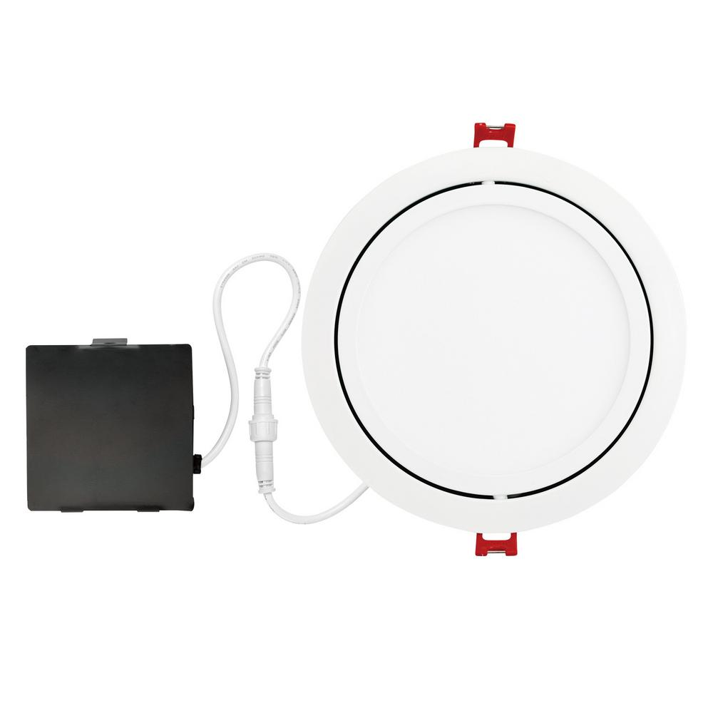 Globe Electric Designer Slim Directional 6 In White Integrated Led Recessed Kit 91221 The Home Depot