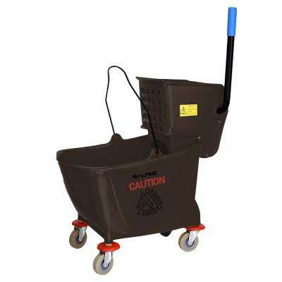 36 Qt. Mop Bucket with Side Press Wringer in Brown