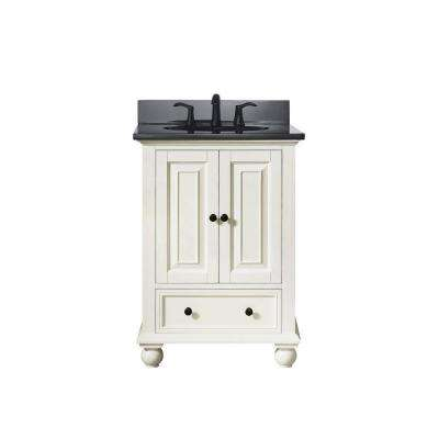 Thompson 25 in. W x 22 in. D x 35 in. H Vanity in French White with Granite Vanity Top in Black with White Basin