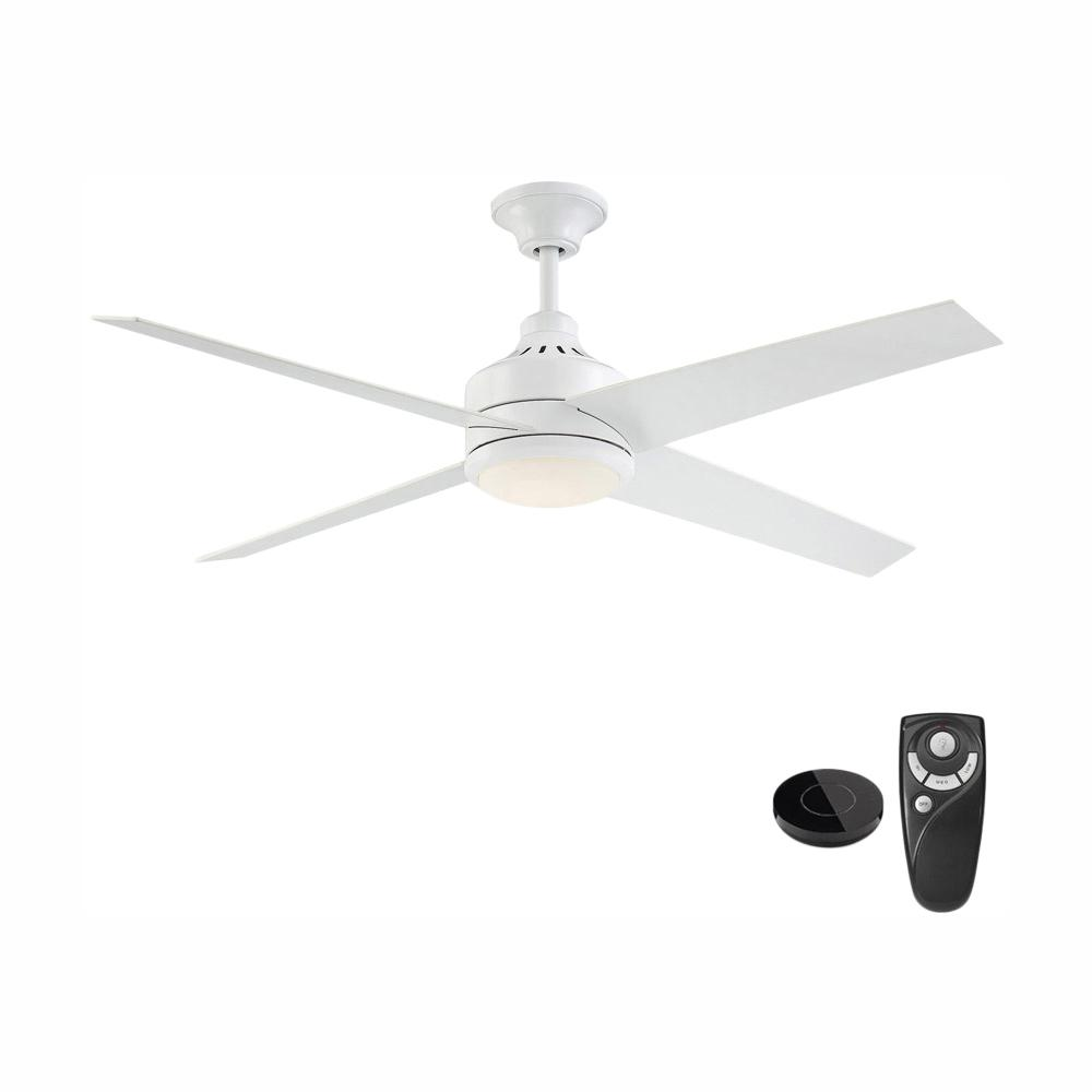 Home Decorators Collection Mercer 56 in. Integrated LED Indoor White Ceiling Fan with Light Kit works with Google Assistant and Alexa