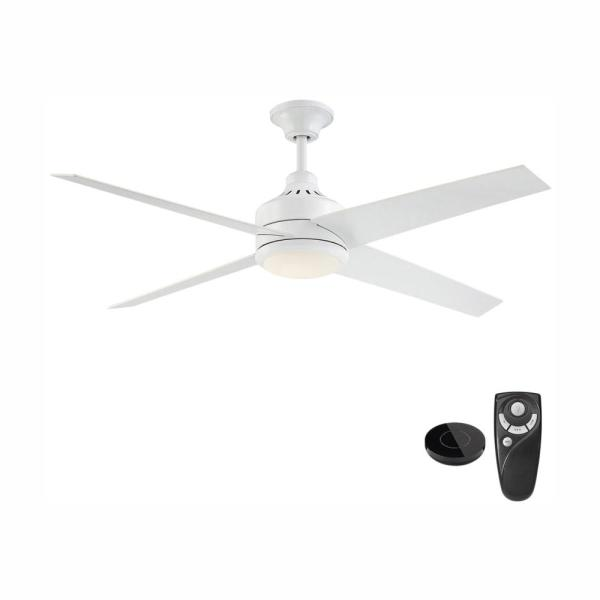 Mercer 56 in. Integrated LED Indoor White Ceiling Fan with Light Kit works with Google Assistant and Alexa
