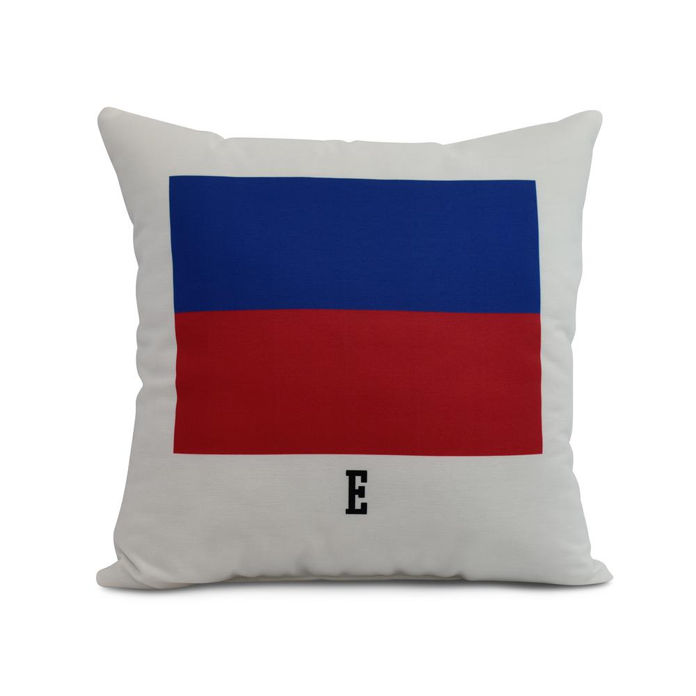 E Letter Simple Outline 16 in. Red Decorative Nautical Throw Pillow