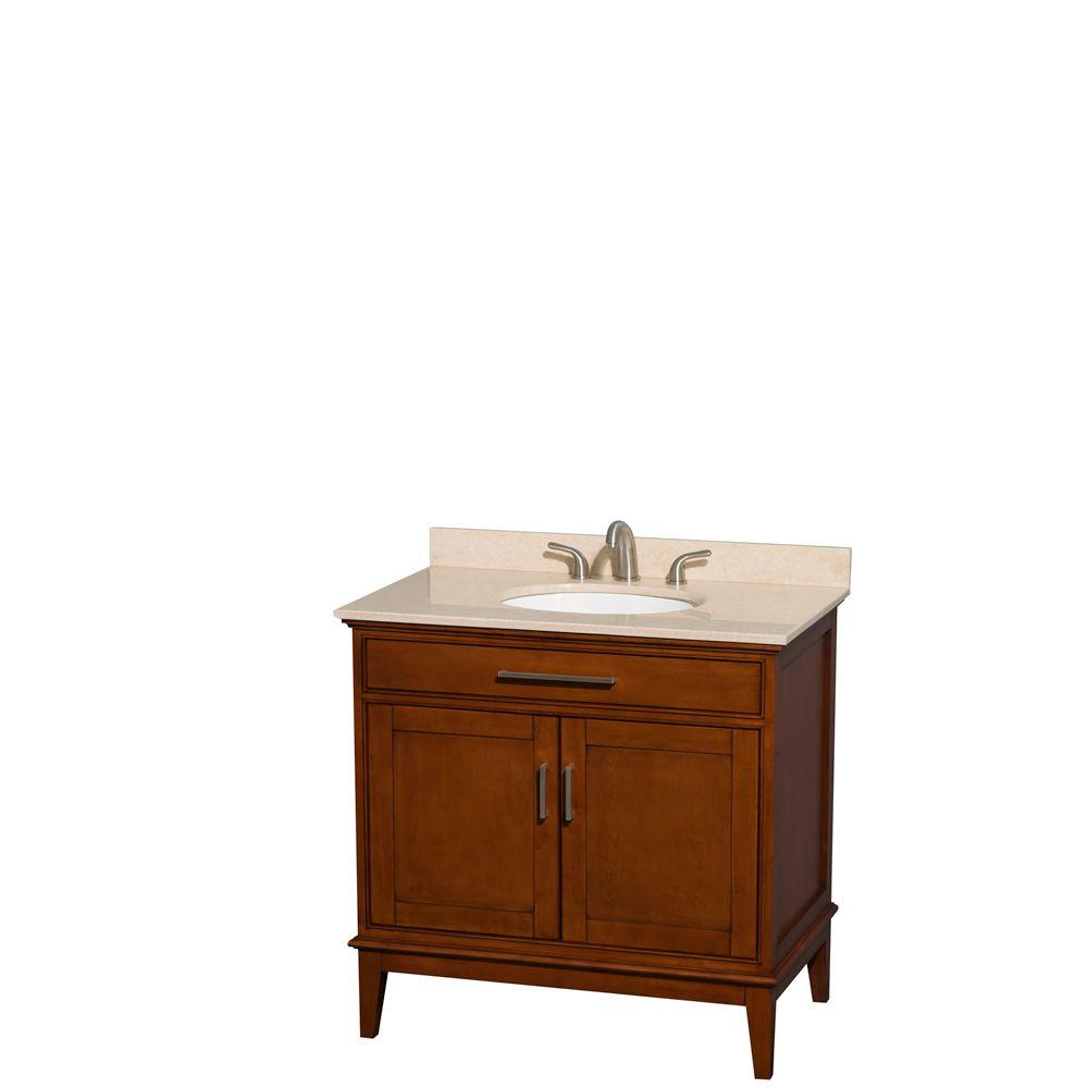 Wyndham Collection Hatton 36 in. Vanity in Light Chestnut with Marble Vanity Top in Ivory and Oval Sink
