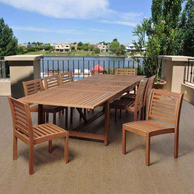 Turner 9-Piece Eucalyptus Extendable Rectangular Patio Dining Set