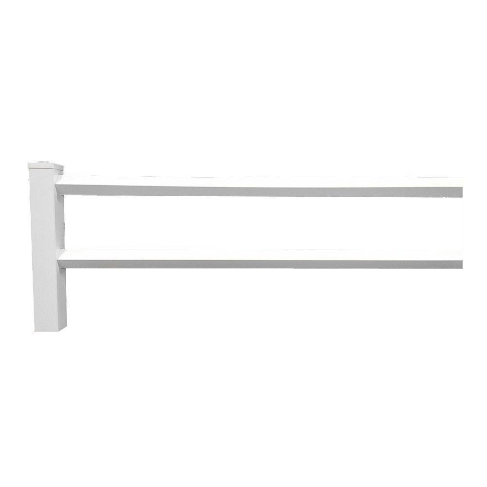 Weatherables 2-Rail Diamond 3 ft x 8 ft White Vinyl Fence Panel with 2 rails