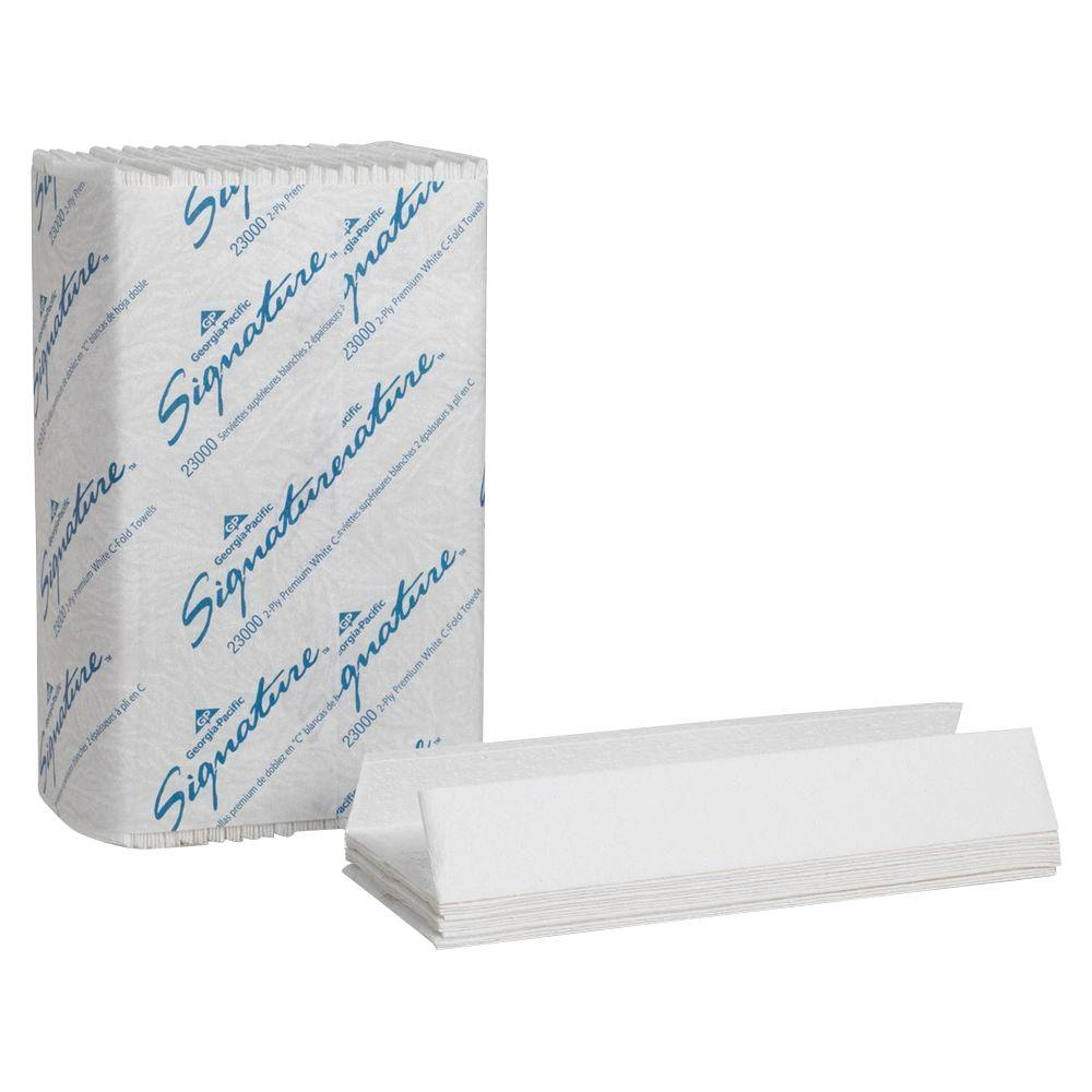 Signature White Premium C-Fold Paper Towels 2-Ply (1440 per Carton)