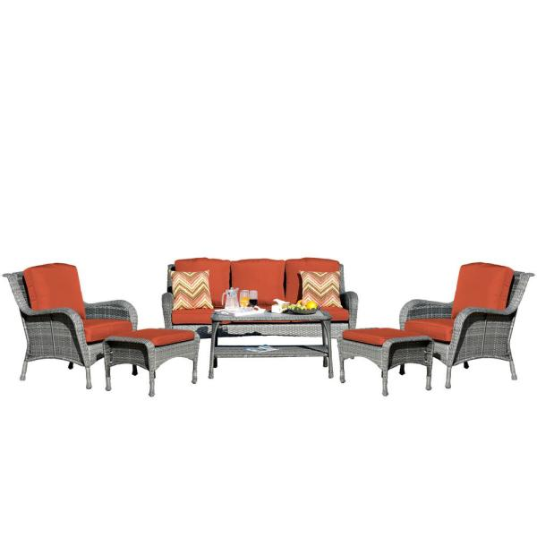 6-Piece Metal Patio Conversation Set with CushionGuard Red Cushions