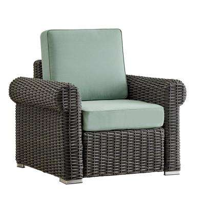 Camari Charcoal Rolled Arm Wicker Outdoor Patio Lounge Chair with Blue Cushion