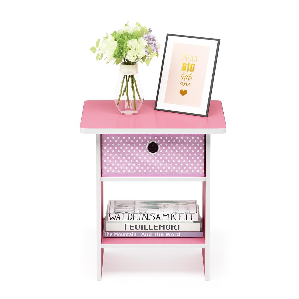 Home Living Pink/Light Pink End Table/Night Stand Storage Shelf with Bin