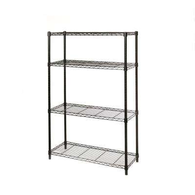 36 in W x 14 in D x 54 in H, UltraDurable Commercial-Grade 4 Tier Black Epoxy NSF Steel Wire Shelving