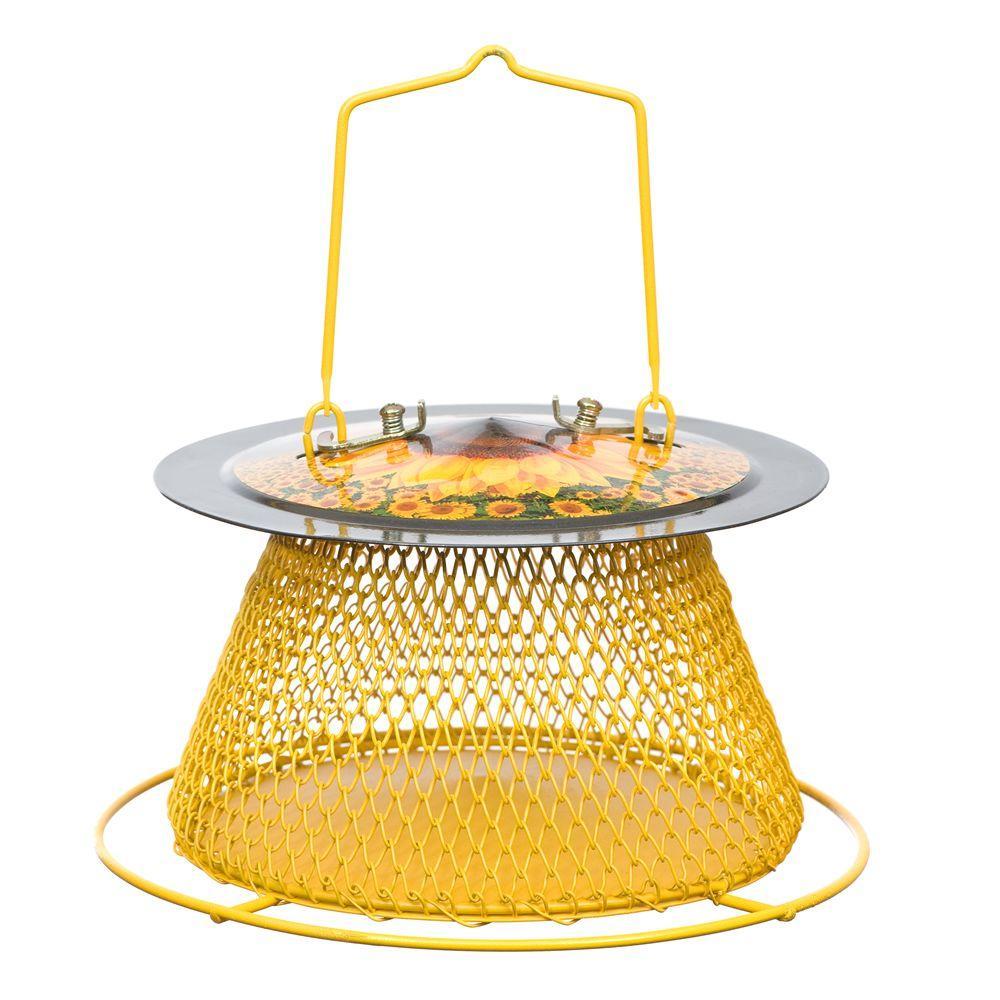 Designer Sunflower Single Tier Bird Feeder with Perch Ring