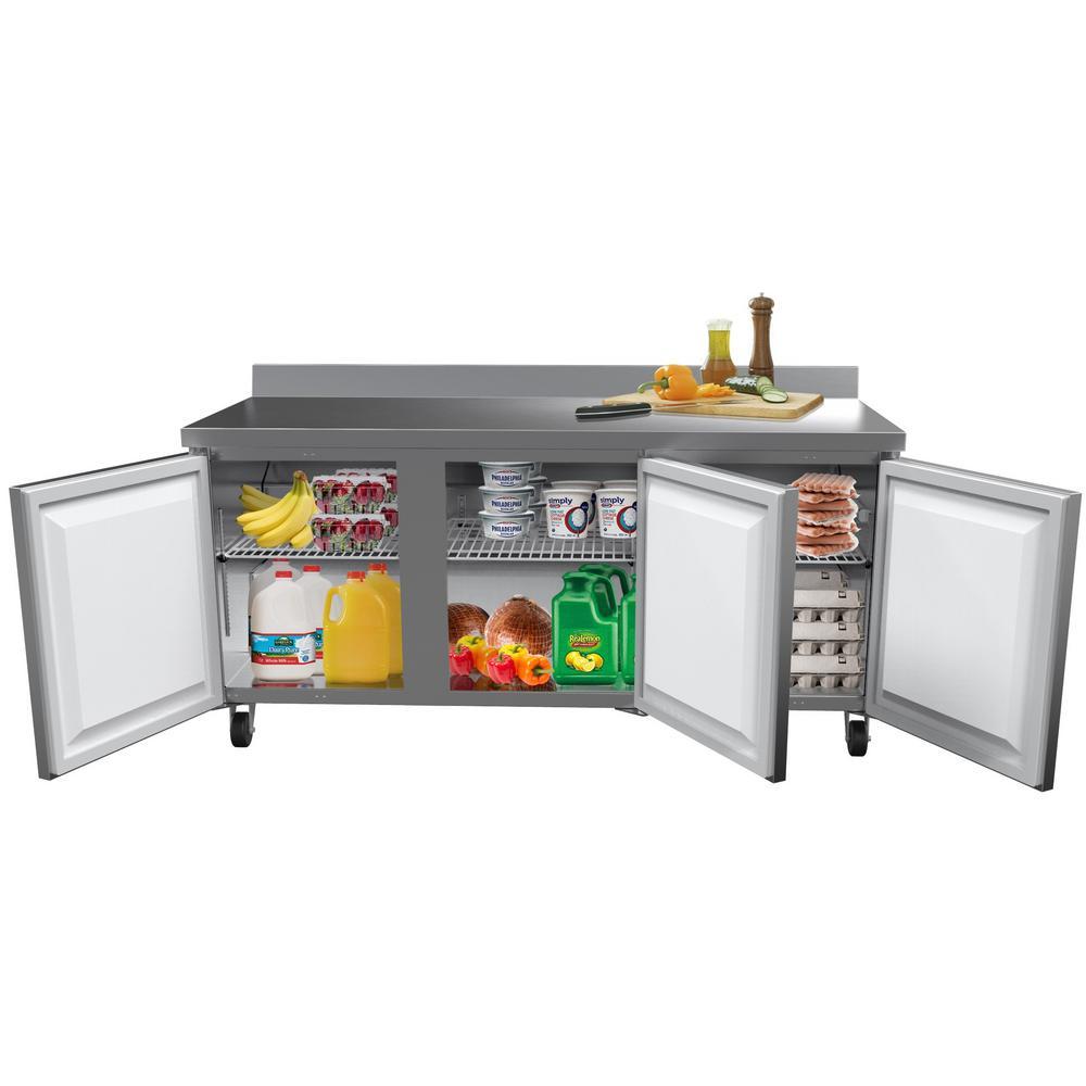 72 in. 16.9 cu. ft. Commercial 3-Door Worktop Refrigerator in Stainless Steel