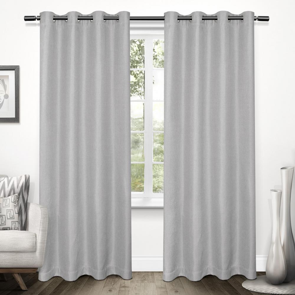Tweed Dove Grey Textured Linen Blackout Grommet Top Window