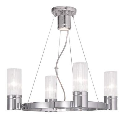 Midtown 5-Light Chrome Chandelier with Hand Crafted Clear Fluted Glass Shade