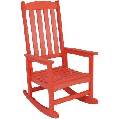 All-Weather Salmon Traditional Plastic Patio Rocking Chair