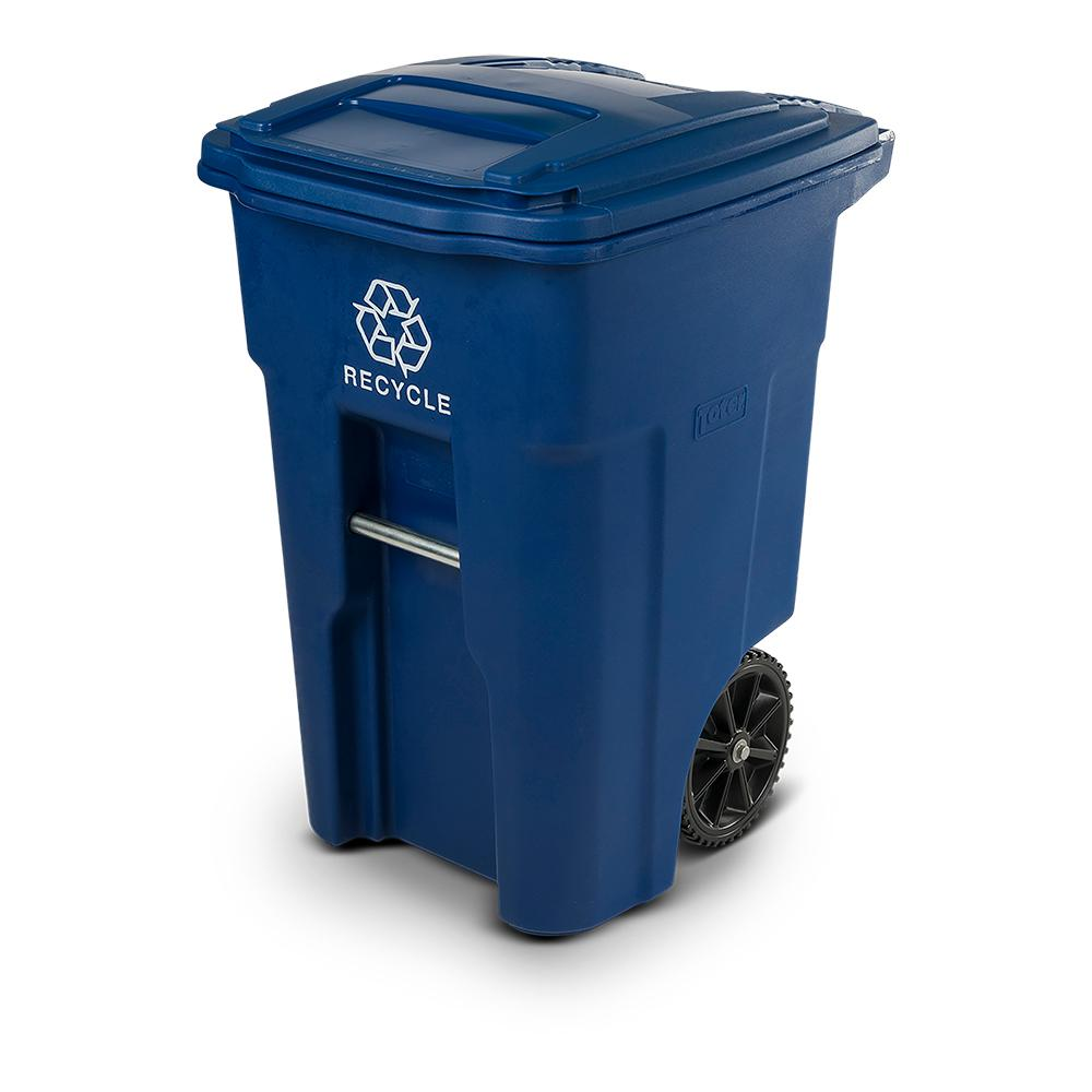 Toter Toter 48 Gal. Blue Rollout Recycling Container with Attached Lid