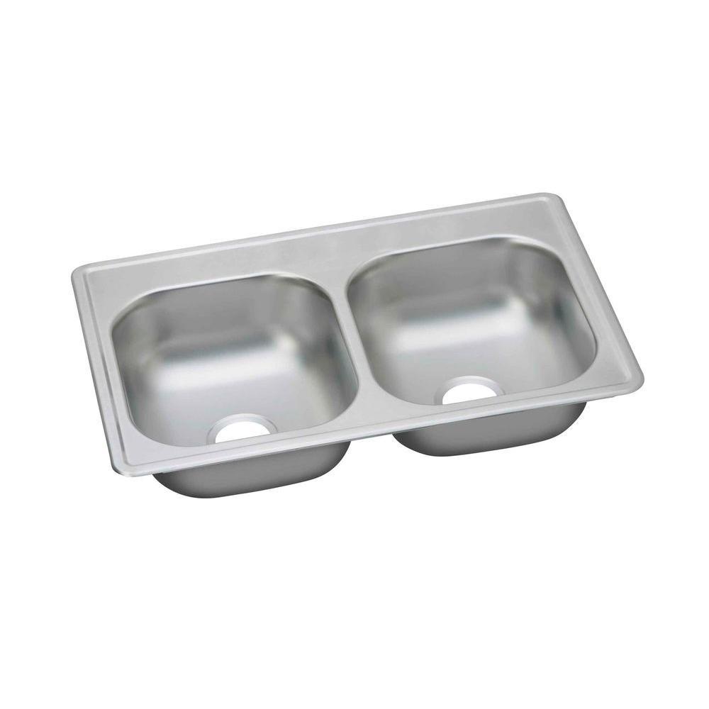 Dayton Drop-In Stainless Steel 33 in. Double Bowl Kitchen Sink